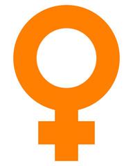Female symbol icon - orange simple thick, isolated - vector