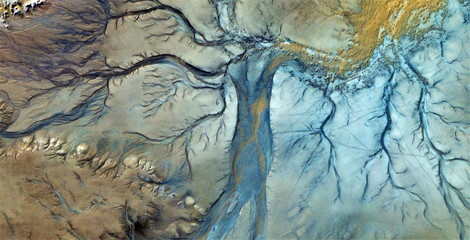 abstract photography of the deserts of Africa from the air, aerial view, abstract expressionism, contemporary photographic art,