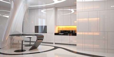 Kitchen of the future. Futuristic bar counter with chairs. Modern kitchen interior design. 3D illustration
