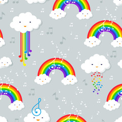 Pastel rainbow and stars seamless pattern on blue background wit