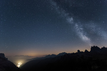Milkyway over Dolomites in a summer night