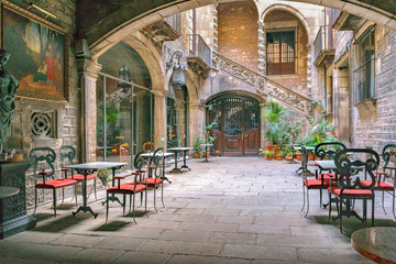 Antique Building Courtyard, Gothic District, Barcelona, Spain