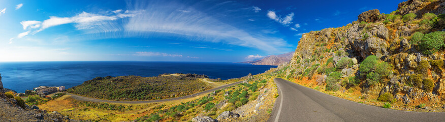 Road on Creta island, Greece, Europe.