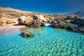 Falassarna beach on Crete island with azure clear water, Greece, Europe