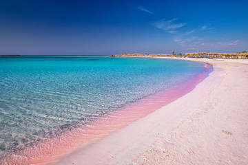 Elafonissi beach on Crete island with azure clear water, Greece, Europe