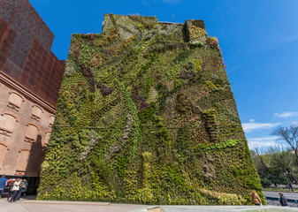 Madrid, Spain - the green wall is one of the main attracions of Madrid. Here in particular a look at the wall during a sunny morning
