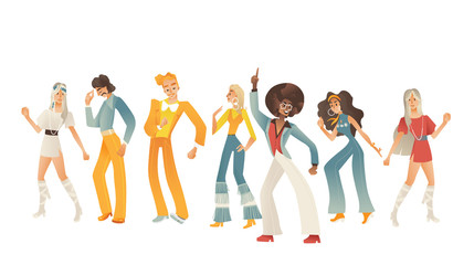 Disco dancing people vector illustration set with various men and women with retro clothes and hairstyles in cartoon gradient style isolated on white background. Dancers in 70s fashion style.
