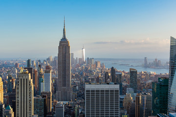 New York city view of Downtown with Empire state building and  One World trade center
