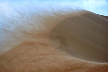 Sandstorm in desert. Sandstorm in the dunes.