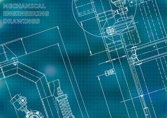 Blueprint, Sketch. Vector engineering illustration. Cover, flyer, banner, background.
