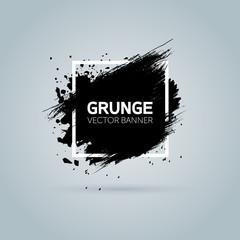 Art graphics shapes elements. Brush paint ink stroke design over square frame. Grunge vector illustration background. Good for headline, logo, poster, message, sale banner, flyers, brochures etc.