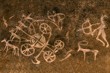 the image of ancient people on the cave wall, the history of antiquities, archeology. ancient science.