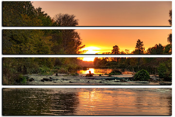 modular picture on white background, beautiful sunset on the shore of a small river