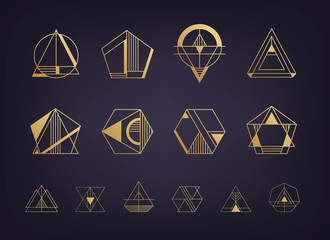Vector set of abstract geometric logos. Art deco, hipster, golden