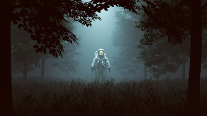 Astronaut with Gold Visor Standing in a Wooded Clearing with a Beam of Light 3d illustration 3d render