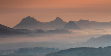 Landscape  of beautiful  mountain in the morning in Loei province  Thailand.