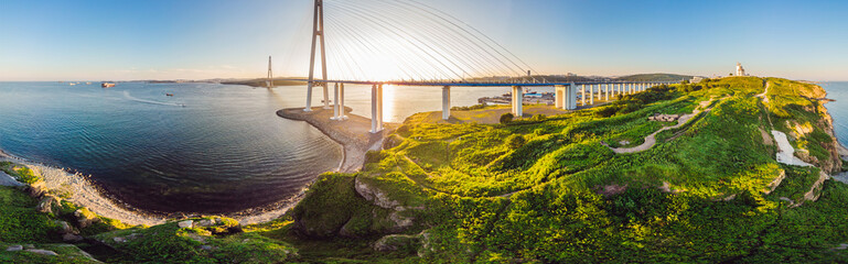 Suspension Russkiy Bridge seen from Russkiy island in Vladivostok, Russia