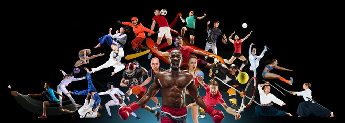 Sport collage about kickboxing, football, basketball, ice hockey, badminton, volleyball, snowboard, aikido, karate tennis, rugby, gymnastics on black background