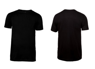 Black t-shirt, clothes on isolated white