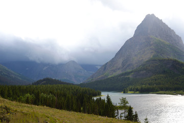 Scenic Looking at a clear blue lake in Glacier National Park.
