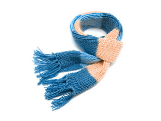 Knitted scarf on a white background.