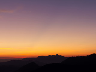 colorful of sky and beautiful mountain landscape.Morning sunrise time mountain scenery