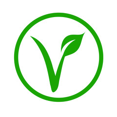 Universal vegetarian symbol- The V-label- V with a leaf, originated with the European Vegetarian Union.
