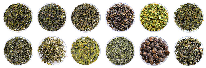collection of green tea top view close-up set isolated on white background