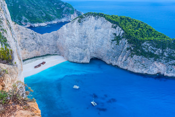 Greece, Zakynthos, Magic navagio beach or shipwreck beach bay in blue hour mood