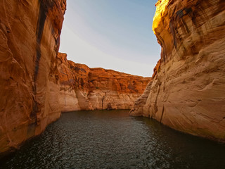 Beautiful canyon and lonely rocks on the Lake Powell