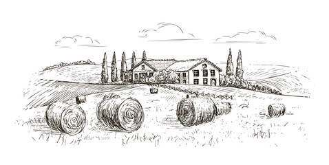 Rural landscape, village sketch. Farm, vintage vector illustration