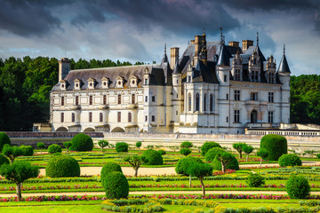 Beautiful castle of Chenonceau with ornamental garden, Loire Valley, France