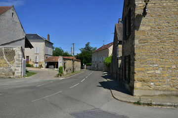 Sagy, France - july 8 2018 : main street in the village centre