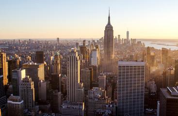 Sun set over New York City