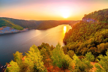 Beautiful view of the sunset Yumaguzinsky reservoir on the White River. Bashkortostan