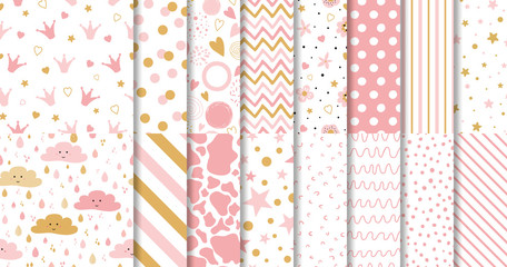 Set of cute sweet pink seamless patterns Wallpaper for little baby girl Pink background collection