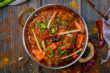 gosht masala indian food in a copper