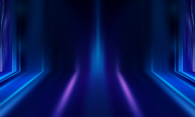 Abstract blue background with rays of neon light, spotlight, reflection