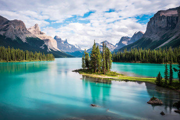 Spirit Island at Maligne Lake in Jasper National Park, Alberta, Canada.