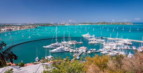 Marigot, St Martin - February 2015: Harbour at Marigot, French capital of St Martin, Caribbean