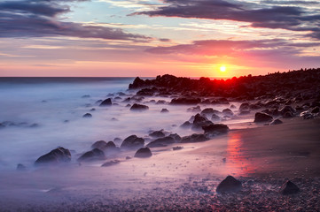 Sunset Etang Sale Coastline of reunion island