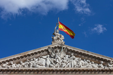 Pediment of the National Library of Spain in Madrid