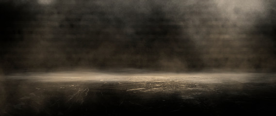 Background of an empty dark room, smoke and dust.