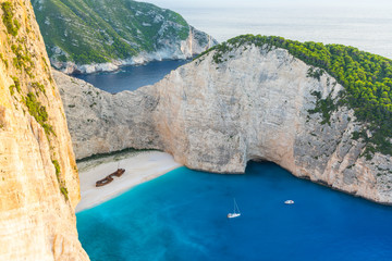 Greece, Zakynthos, Magic shipwreck beach in twilight atmosphere from above