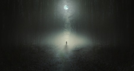 Surreal horror scene with alone strange man in dark night forest