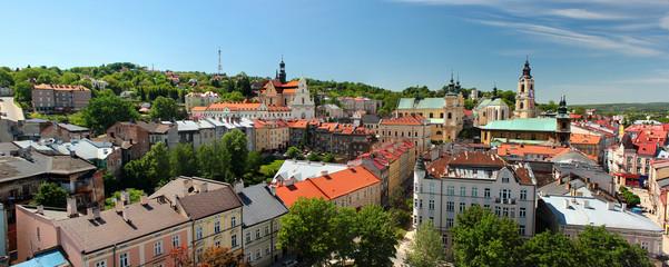 Stare Miasto Przemyśl, Polska. Panorama z wieży zegarowej.