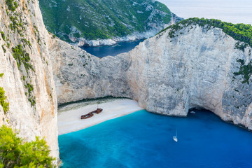 Greece, Zakynthos, Worlds famous smugglers cove or shipwreck beach from above