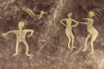 iimage of ancient people on the cave wall. history of antiquities, archeology.