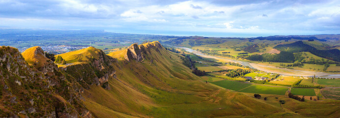 Picturesque panoramic view from Te Mata peak, Hawkes Bay, New Zealand