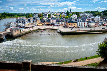 Auray - Port of Saint-Goustan. Panoramic view of the old city centre. Brittany, France